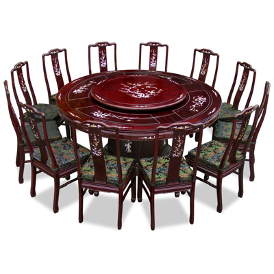 Dark Cherry Rosewood Mother of Pearl Inlay Round Dining Set with 12 Chairs