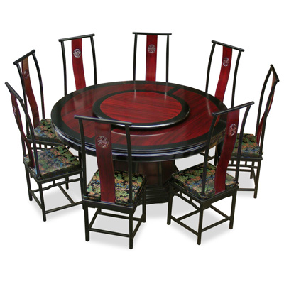 Black Trim Dark Cherry Rosewood Ming Round Dining Set with 8 Chairs