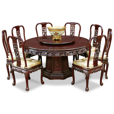 Dark Cherry Rosewood Queen Anne Grape Vine Round Dining Set with 8 Chairs