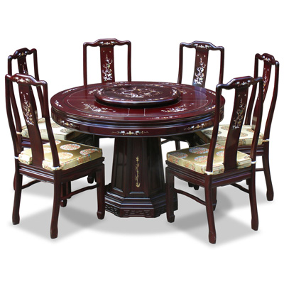 Dark Cherry Rosewood Mother of Pearl Inlay Round Dining Set with 6 Chairs
