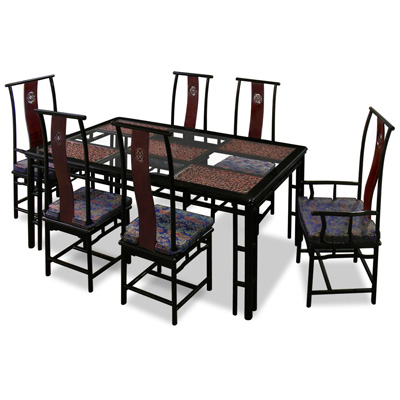 Dark Cherry Rosewood Cao Long Rectangle Oriental Dining Set with 6 Chairs