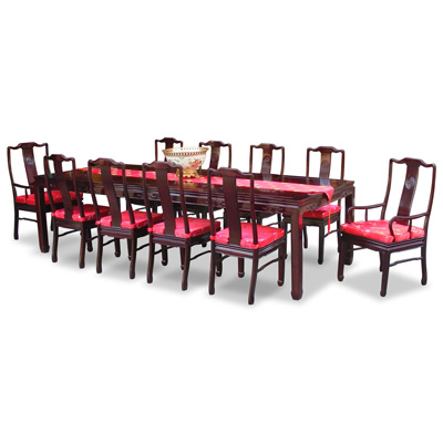 Dark Cherry Rosewood Longevity Rectangle Dining Set with 10 Chairs