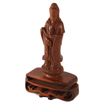 8 Inch Copper Goldstone Guanyin Asian Statue