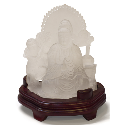 Tall Frosted Quartz Standing Guanyin