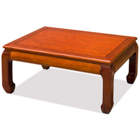 Natural Finish Rosewood Ming Rectangular Coffee Table