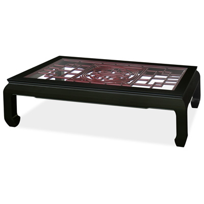 Rosewood Longevity Ming Rectangular Coffee Table with Dark Cherry Accent