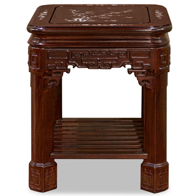 Mahogany Finish Rosewood Mother of Pearl Inlay Accent Table