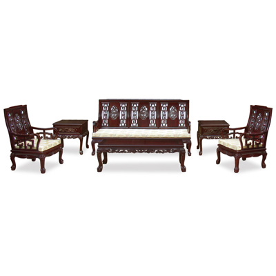 Dark Cherry Rosewood Imperial Dragon Living Room Set (6pcs)