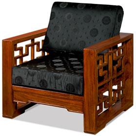 Mahogany Finish Elmwood Wang Zi Chinese Sofa Chair