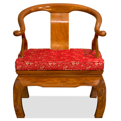 Natural Finish Rosewood Chow Leg Monk Chair