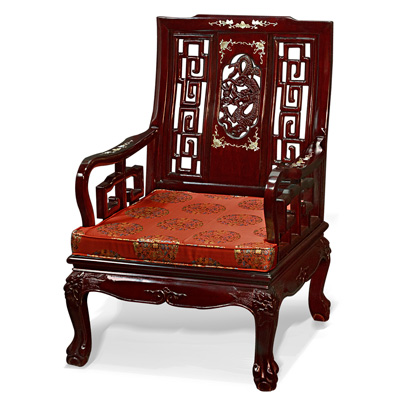 Dark Cherry Rosewood Mother of Pearl Inlay Imperial Dragon Arm Chair