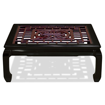Black Rosewood Longevity Square Coffee Table with Dark Cherry Accent