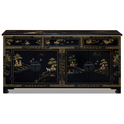 Black Lacquer Chinoiserie Scenery Motif Sideboard