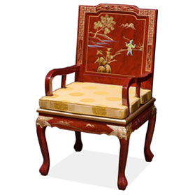Red Queen Anne Chinoiserie Scenery Oriental Arm Chair