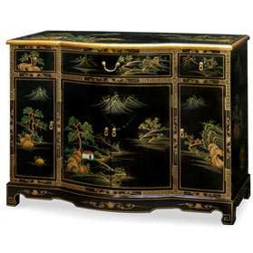 Black Lacquer Chinoiserie Scenery Motif Hall Cabinet