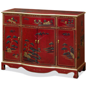 Red Lacquer Chinoiserie Scenery Motif Hall Cabinet