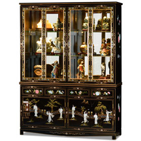 Black Lacquer Mother of Pearl China Cabinet