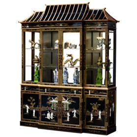 Black Lacquer Mother of Pearl Pagoda Oriental China Cabinet