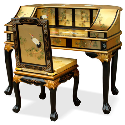 Gold Leaf Crane Harpsichord Style Oriental Desk Set