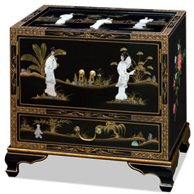 Black Lacquer Mother of Pearl Accent Cabinet