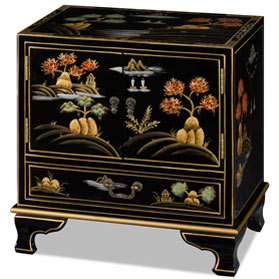Black Chinoiserie Scenery Motif Oriental Accent Cabinet