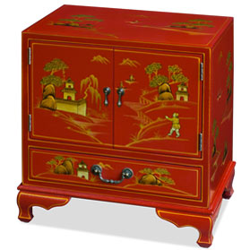 Chinoiserie Scenery Motif Oriental Accent Cabinet