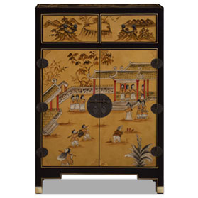 Gold Leaf Chinoiserie Courtyard Cabinet