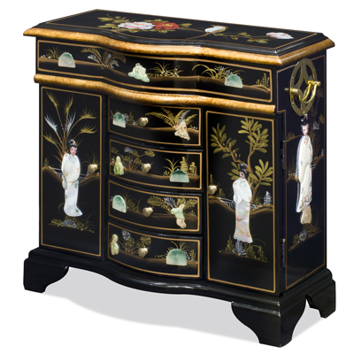 Black Lacquer Mother of Pearl Motif Shan-Shan Jewelry Chest
