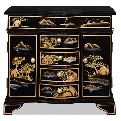 Black Lacquer Chinoiserie Scenery Motif Jewelry Chest