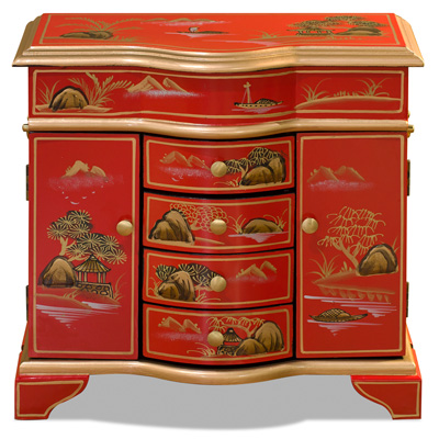 Red Chinoiserie Scenery Motif Jewelry Chest
