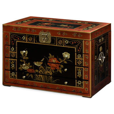 Tibetan Flower Motif Jewelry Chest