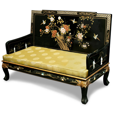Black Lacquer Mother of Pearl Sofa Love Seat