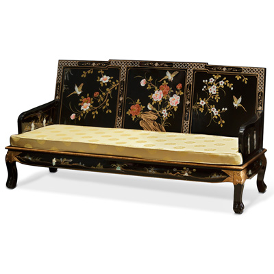 Black Lacquer Mother of Pearl Chinese Sofa Couch