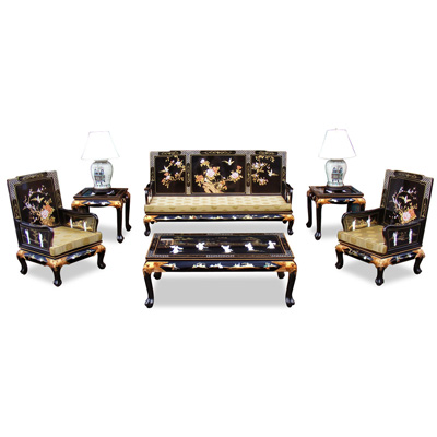 Black Lacquer Mother of Pearl Oriental Living Room Set (6pcs)