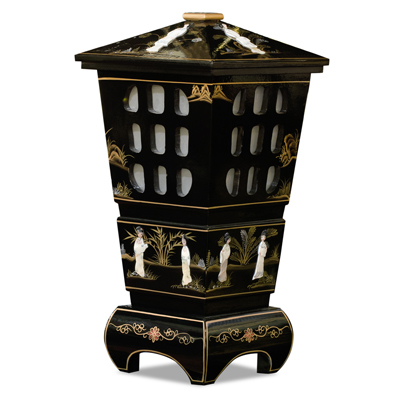Black Lacquer Mother of Pearl Oriental Pagoda Lantern