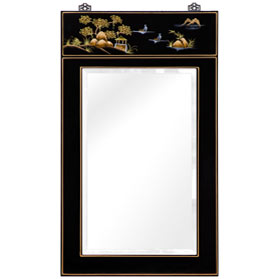 Chinoiserie Scenery Motif Vertical Mirror