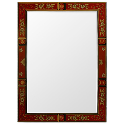 Red Tibetan Vertical Mirror