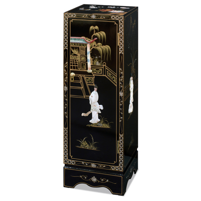 Black Lacquer Mother of Pearl Pedestal Cabinet