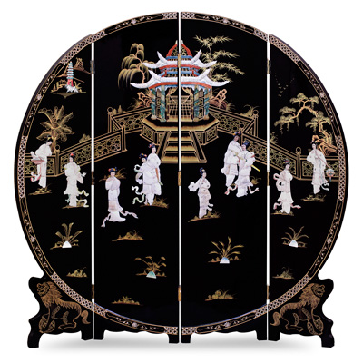 Black Lacquer Mother of Pearl Round Floor Screen