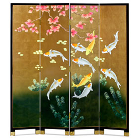 Gold Leaf Koi Fish Floor Screen
