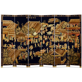 Chinoiserie Scenery Motif 6 Panel Floor Screen with Spring Festival Scene