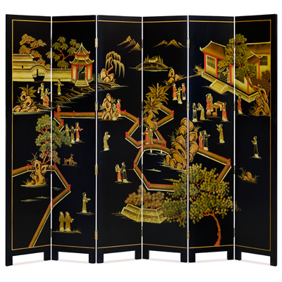 Chinoiserie Scenery Motif Floor Screen with Courtyard Scene