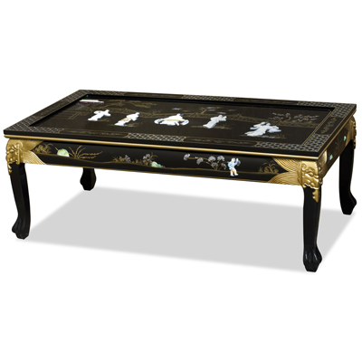 Black Lacquer Mother of Pearl Asian Coffee Table