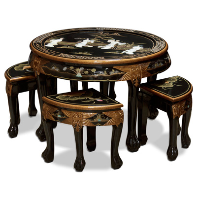 Black Lacquer Mother of Pearl Round Coffee Table Set