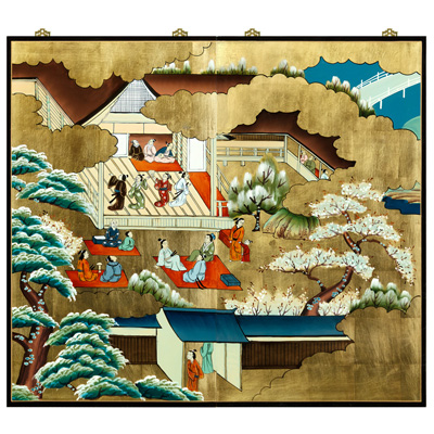 Gold Leaf Spring Courtyard Scene Asian Wall Art