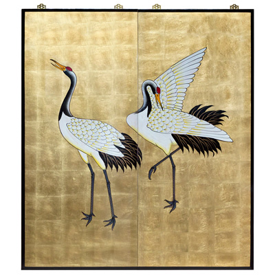 Gold Leaf Longevity Cranes 2 Panel Wall Art