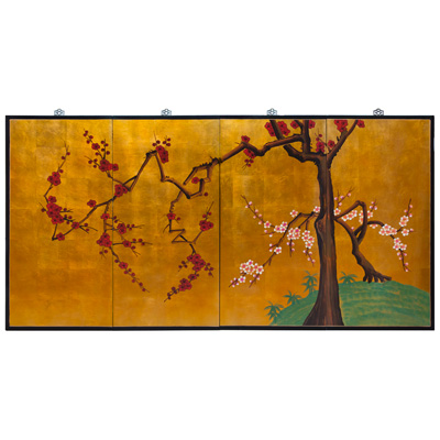 Gold Leaf Cherry Blossom 4 Panel Wall Art