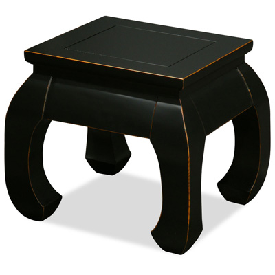 Distressed Black Elmwood Chow Leg Square Chinese Table