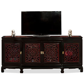 72 Inch Black Trim Dark Cherry Rosewood Longevity Sideboard with Lattice Doors