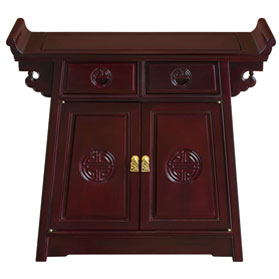 Dark Cherry Rosewood Chinese Longevity Design Altar Cabinet